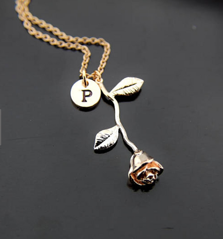 Personalized Rose Initial Necklace