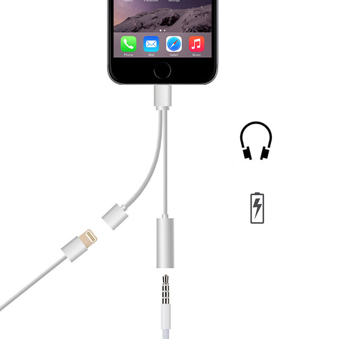 2in1  Headphone Jack Adapter Charge Cable For iPhone