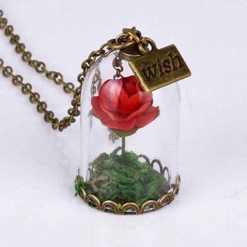 Remarkable Enchanted Rose Necklace