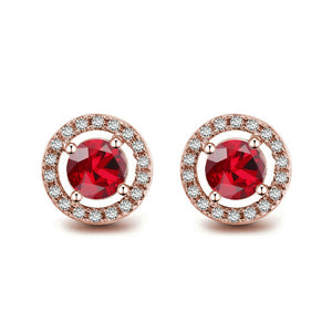 Ruby Red Halo Earrings