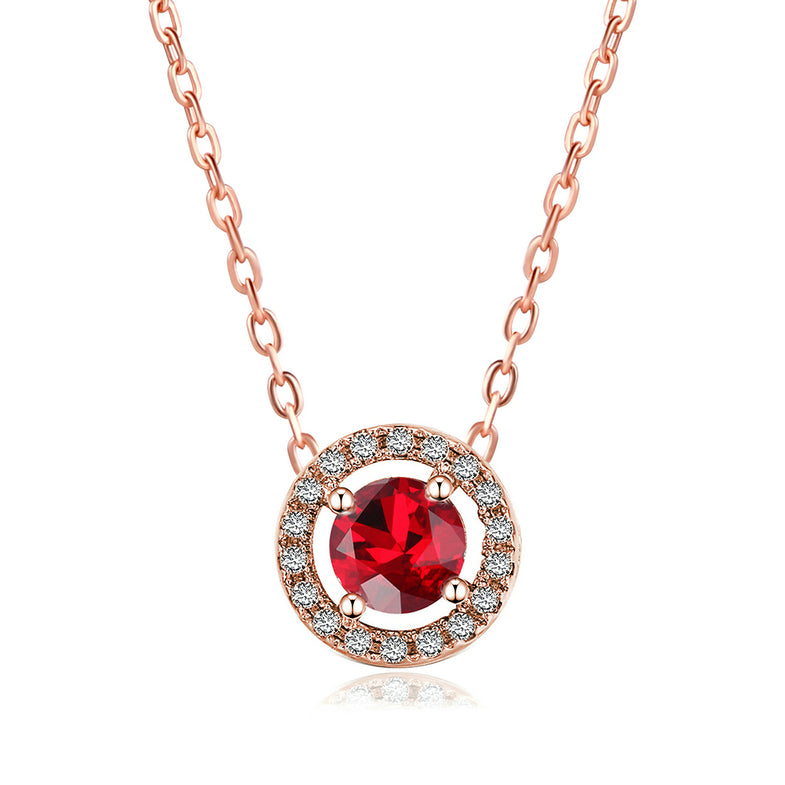 Ruby Red Halo Necklace