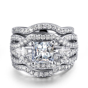Radiant Platinum Luxury Ring Set