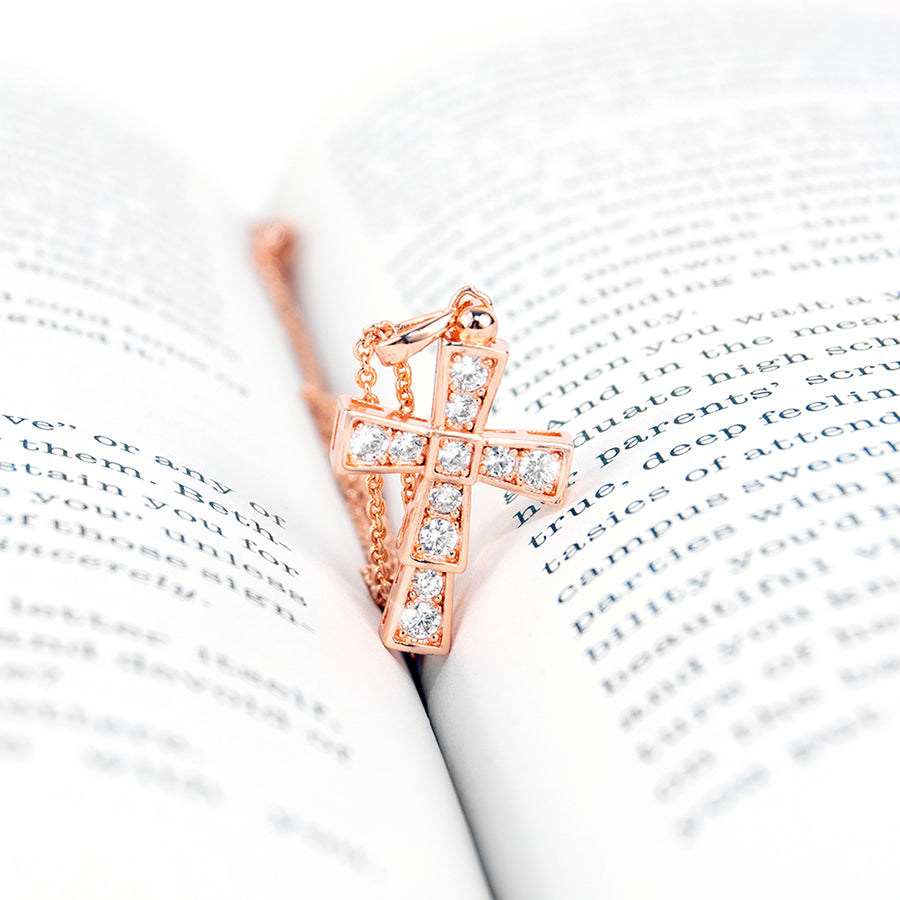Rose Gold Deep Cross Necklace