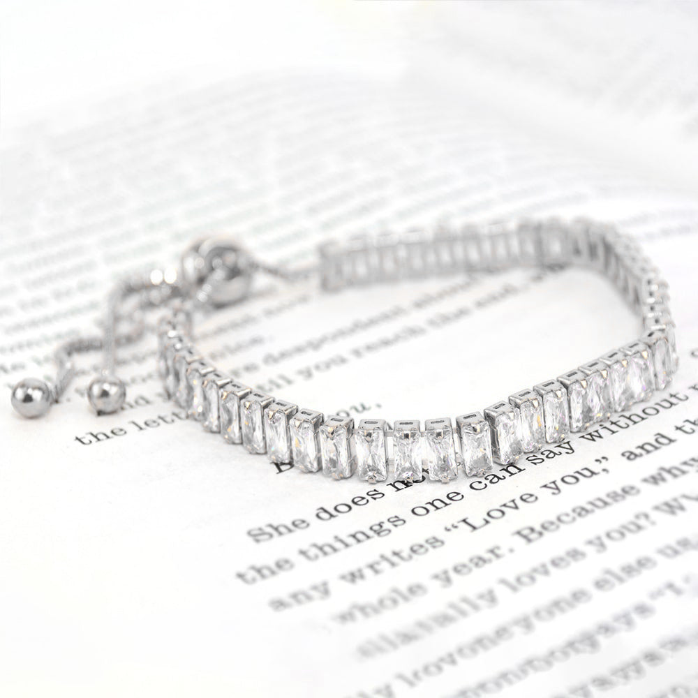 White Gold Emerald Cut Bracelet