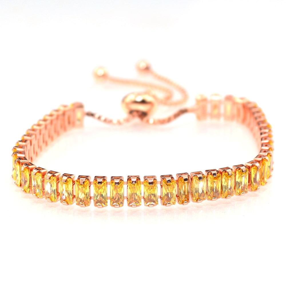 Rose Gold Emerald Cut Topaz Bracelet