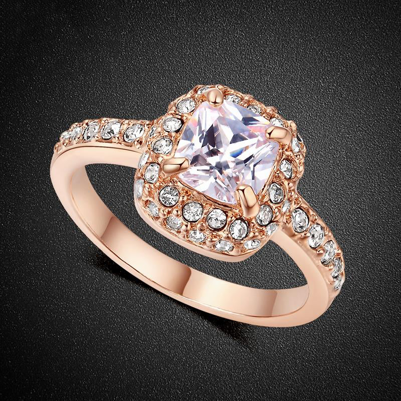 Classic Rose Gold Halo Ring