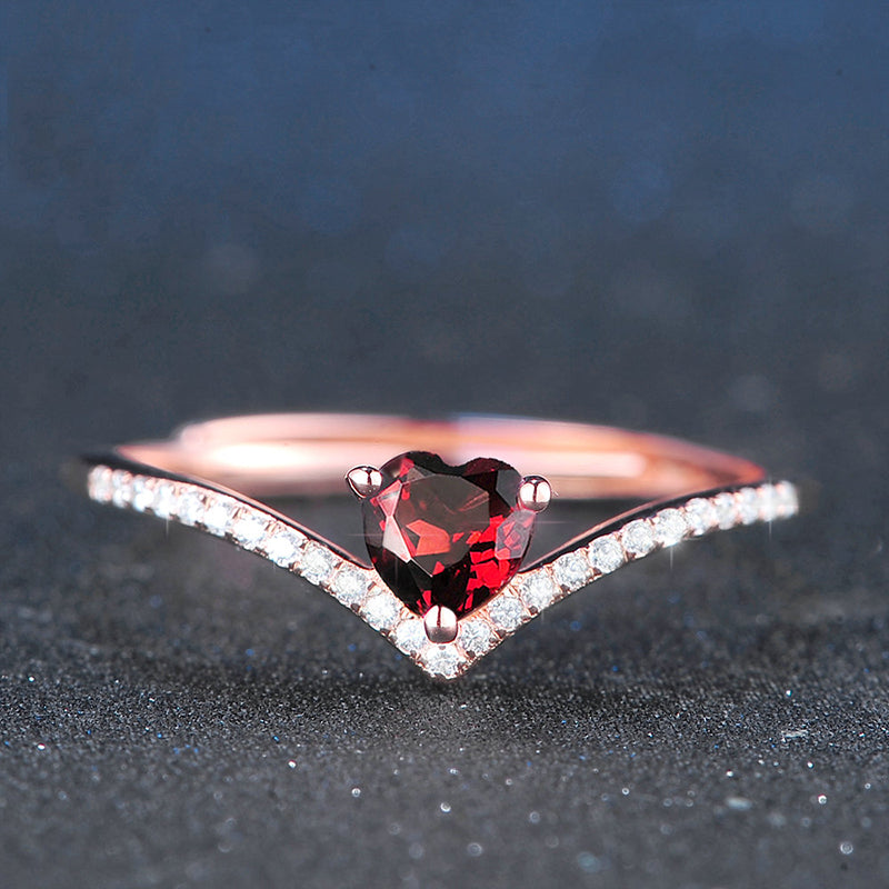 Chevron & Heart Garnet Ring