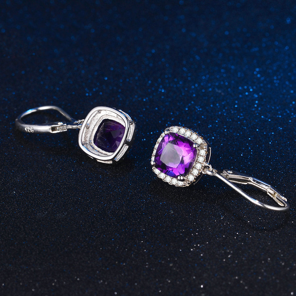 Square Halo Purple Amethyst Earrings