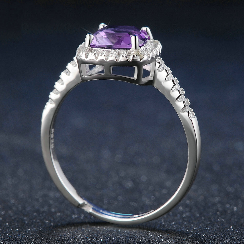 Square Halo Purple Amethyst Ring
