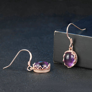 Queen Oval Amethyst Earrings