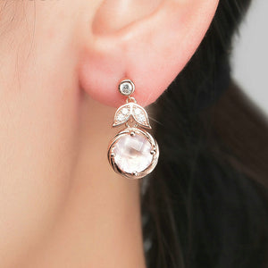 Rose Quartz Floral Earrings