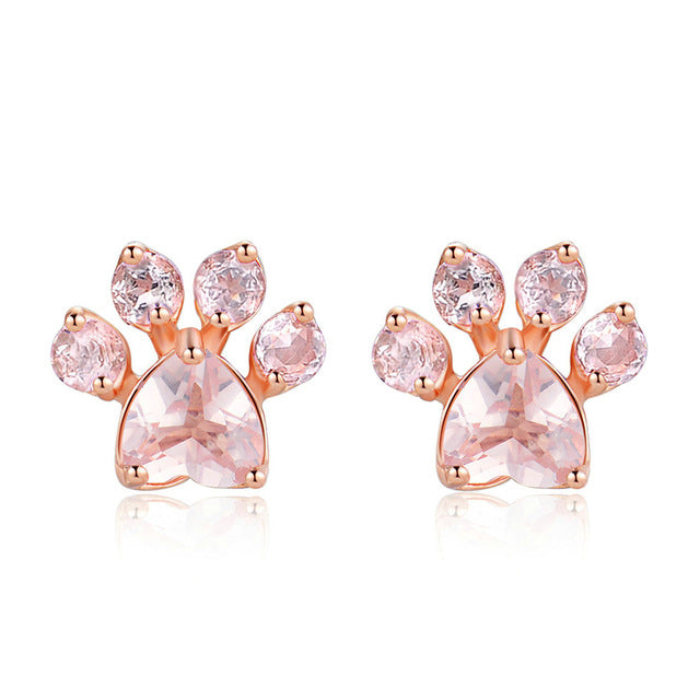 Rose Quartz Paw Earrings
