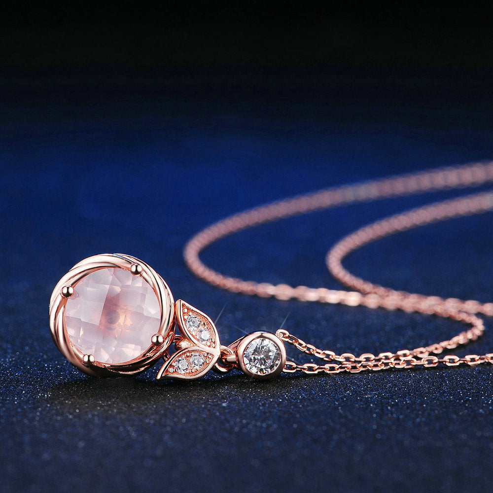Rose Quartz Floral Necklace