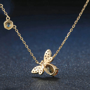 Citrine Bubble Bee Necklace
