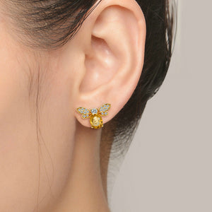 Citrine Bubble Bee Earrings