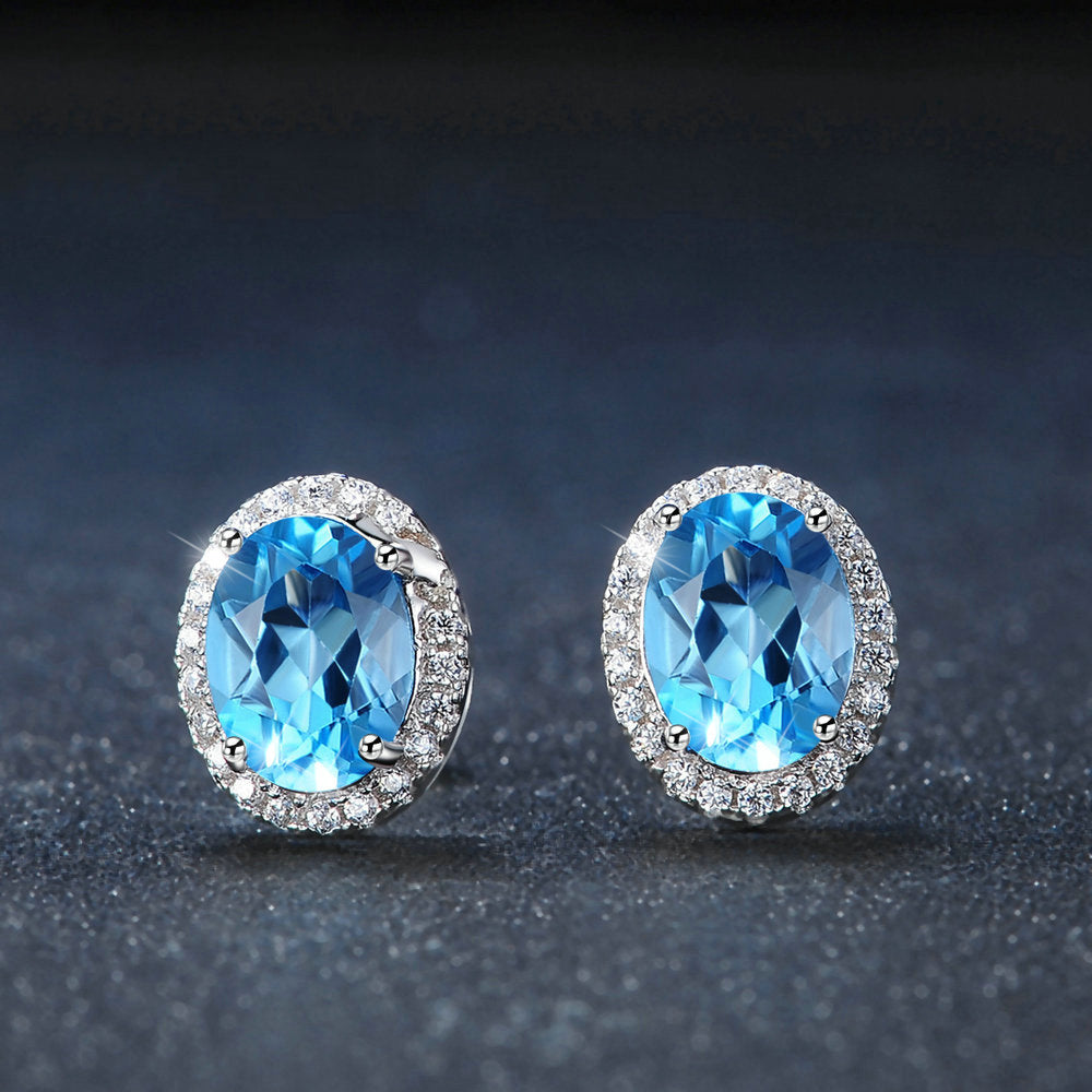 Blue Topaz Halo Earrings
