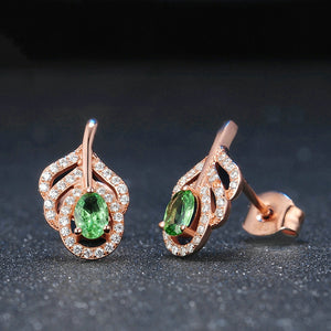 Peridot Leaf Earrings