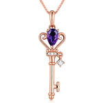 Amethyst Key Pendant Necklace