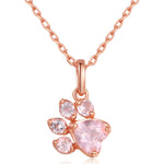 Rose Quartz Paw Necklace