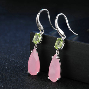 Triple Gemstone Drop Earrings