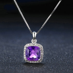 Square Halo Purple Amethyst Necklace