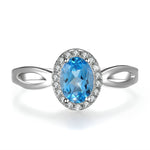 Blue Topaz Halo Ring