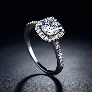 Platinum Princess Halo Ring