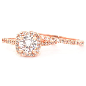 Rose Gold Halo Ring Set