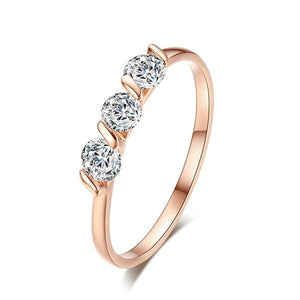 Rose Gold Luxury Triple Stone Ring