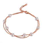 Double Rose Gold Pearl Bracelet