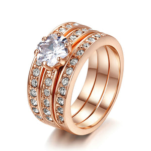 Triple Rose Gold Ring Set