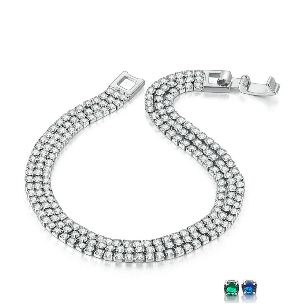 Triple 2mm White Gold Bracelet