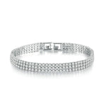 Triple Row Tennis Bracelet - White Gold