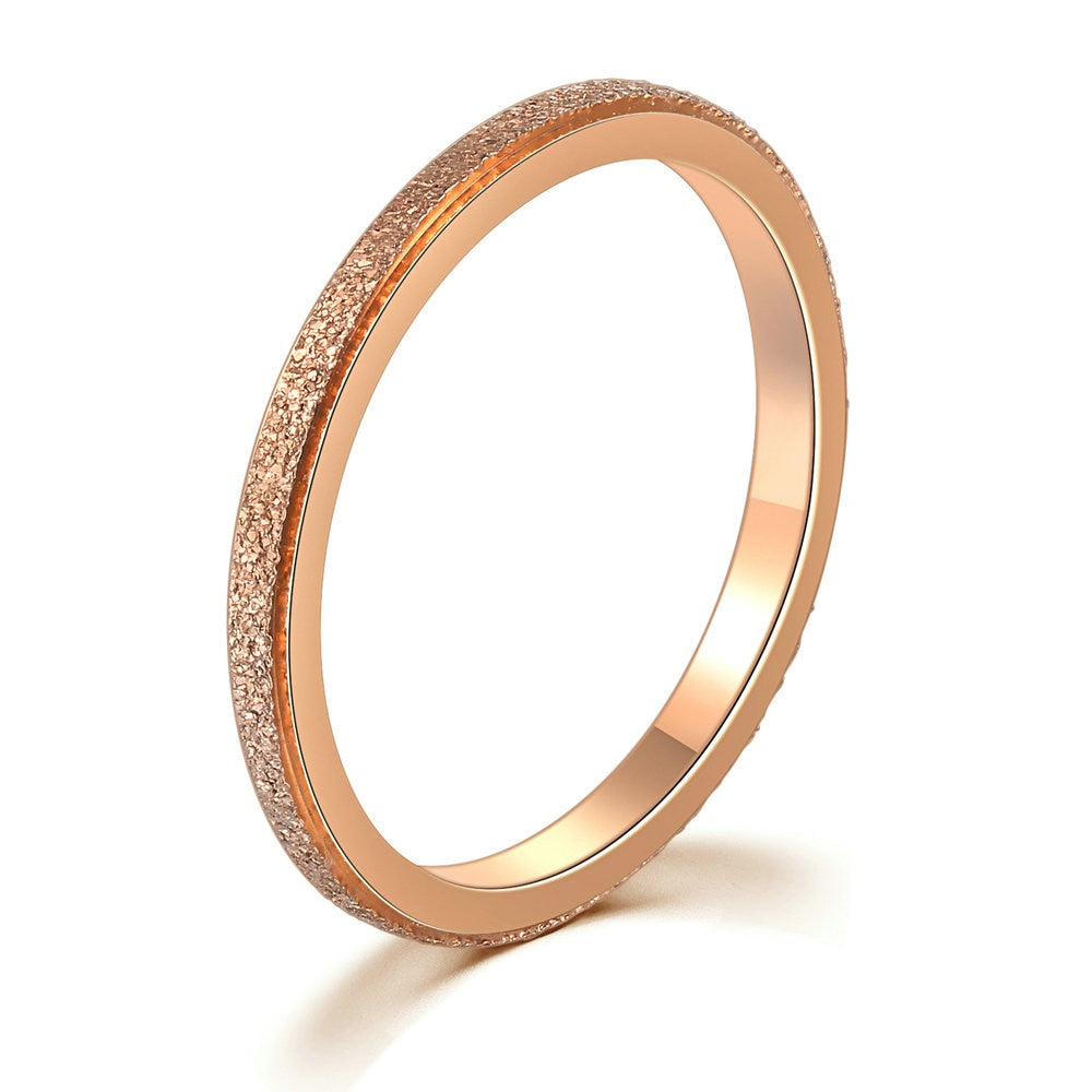 Textured Titanium Rose Gold Band