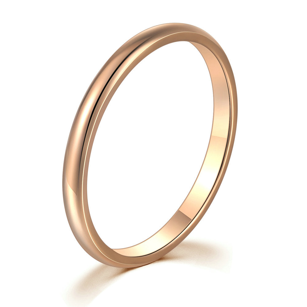Smooth Titanium Rose Gold Band