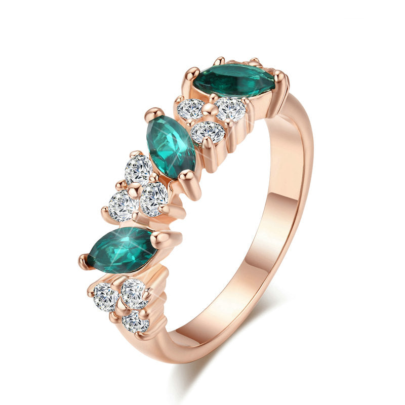 Emerald Green Austrian Cluster Ring