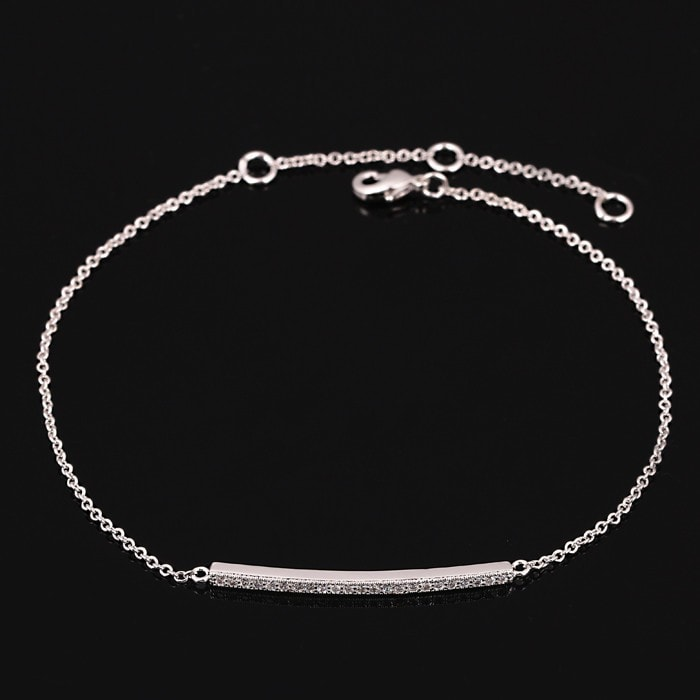 Simple Platinum Bar Bracelet