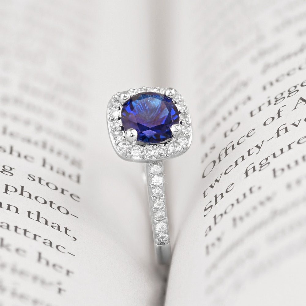 Blue Square Halo Ring