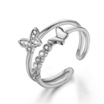 Double Platinum Butterfly Ring