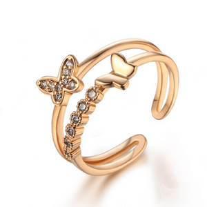 Double Rose Gold Butterfly Ring