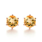 Round Cut Citrine Earrings