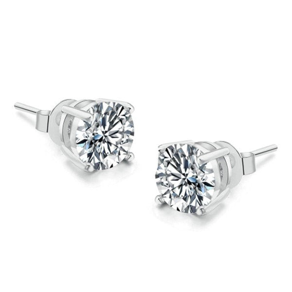 Four Claw Platinum Earrings