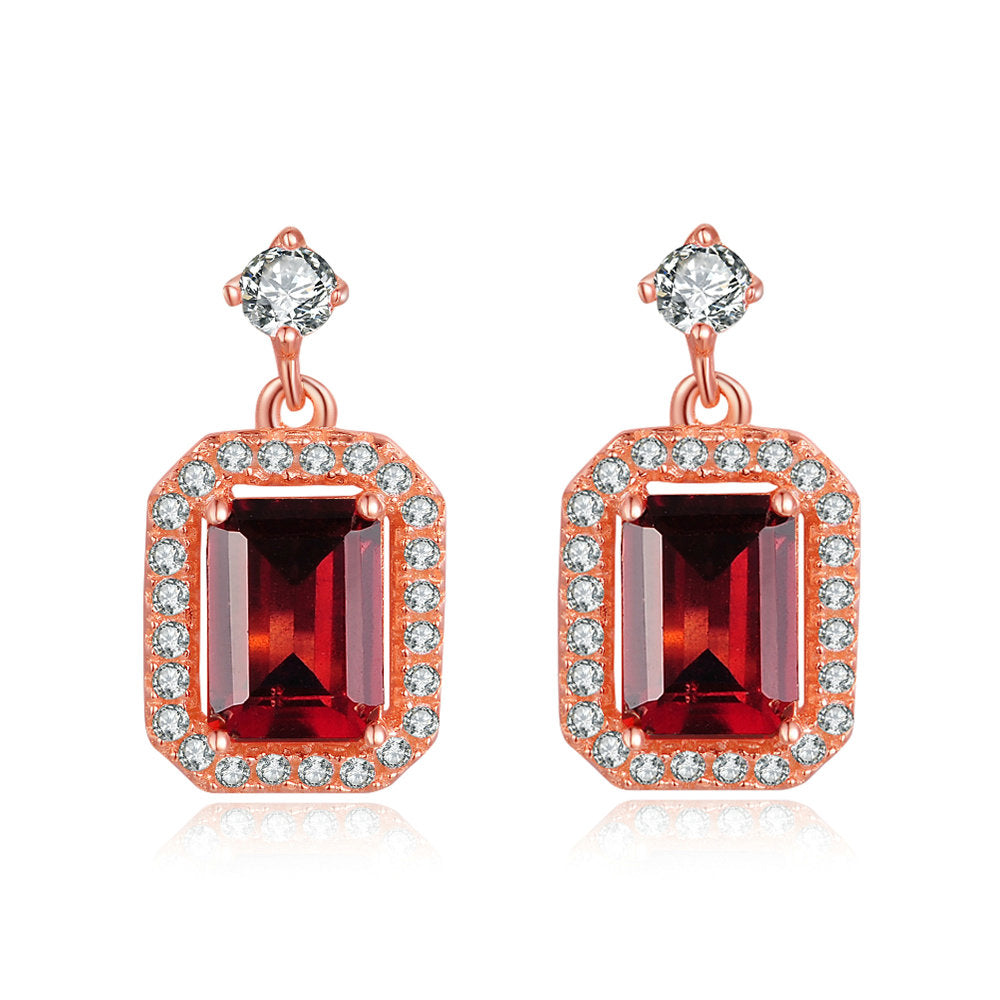 Luxury Halo Red Garnet Earrings
