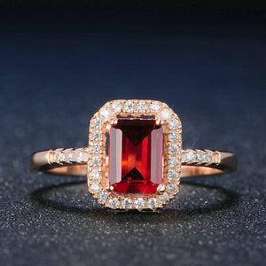 Luxury Halo Red Garnet Ring