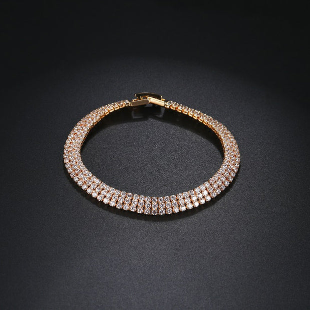 Yellow Gold Triple Row Bracelet