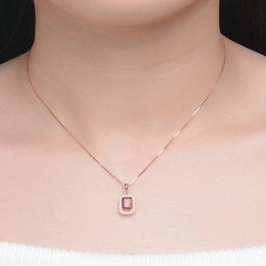 Luxury Halo Red Garnet Necklace