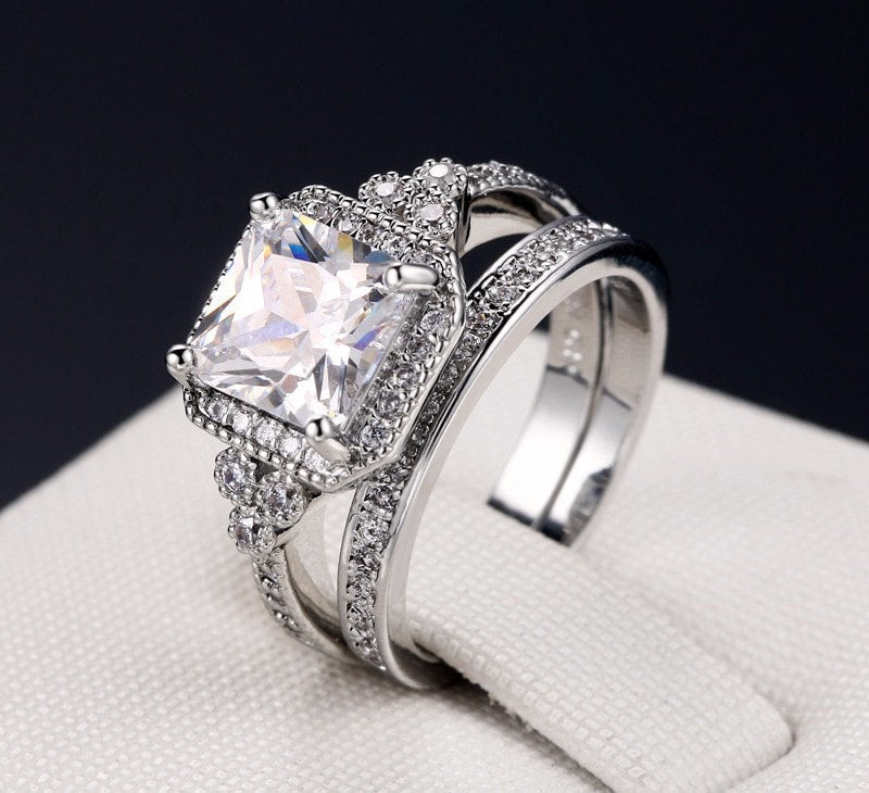 Princess Cut Square Stack Ring