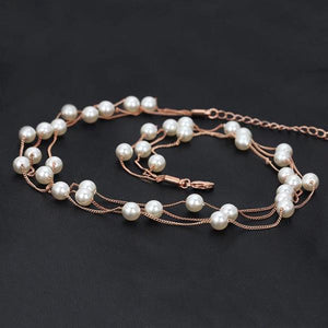 Multi Chain Pearl Necklace
