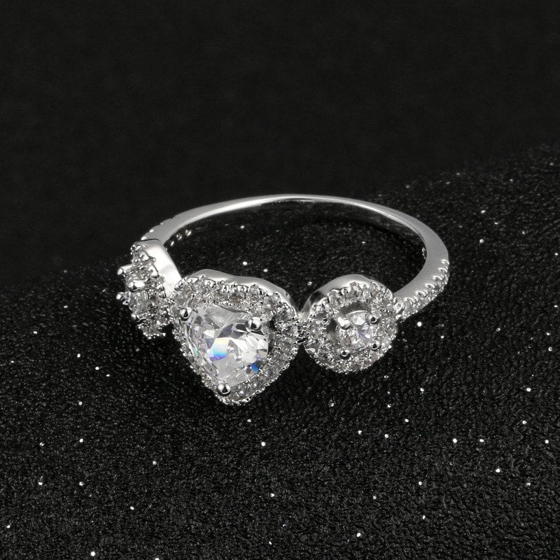 White Gold Heart Ring