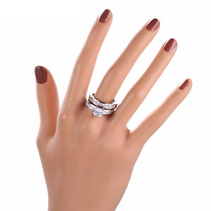 Platinum Square Cut Stack Ring